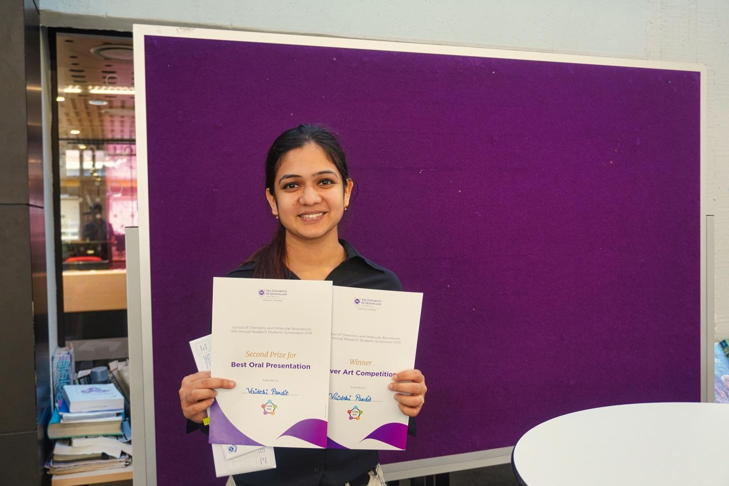 Vaidehi Pandit with Prize certificates