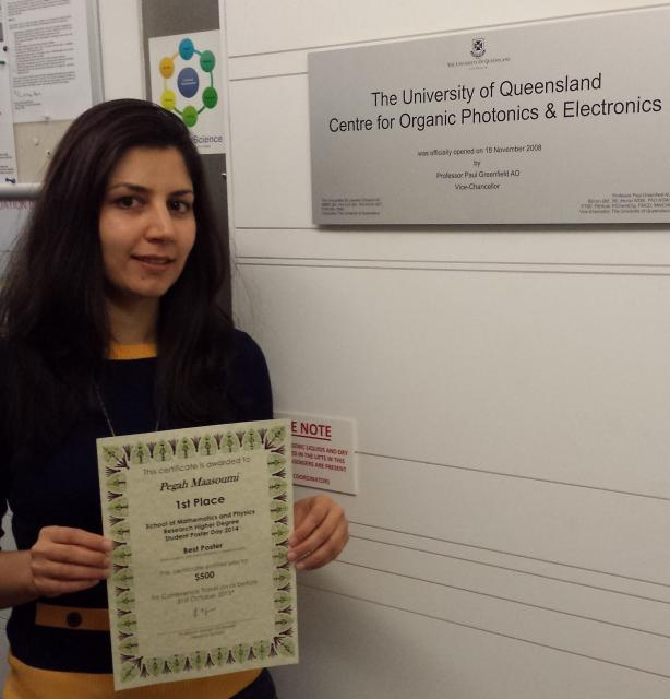 School of Mathematics and Physics Research Higher Degree Student Poster Day 2014 - Pegah Maasoumi wins 1st place